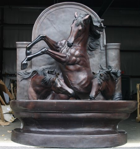Bronze Giant 3 Horse Wall Fountain