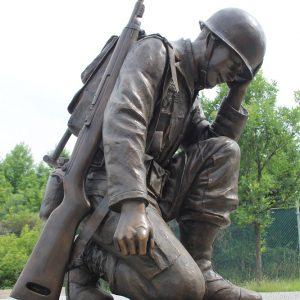 Bronze Life Size Kneeling Soldier memorial sculpture