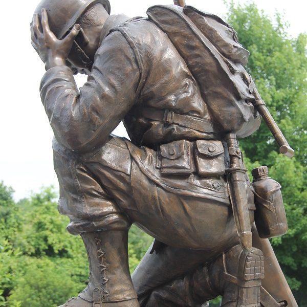 Life Size Kneeling Soldier Memorial