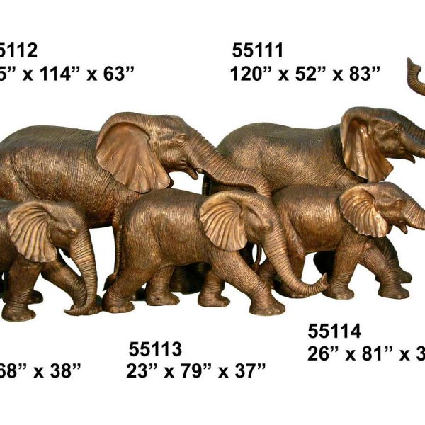 Bronze elephant family TK-55111-15