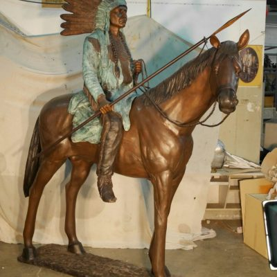 Indian on horse bronze sculpture TK-97174
