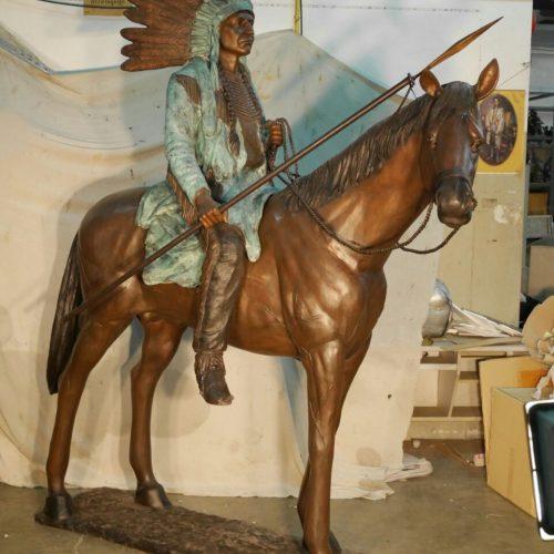 Indian on horse bronze sculpture TK-97174