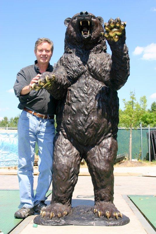 Bronze Standing Kodiak Grizzly Bear Sculpture