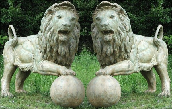 Bronze Standing pair of Lions with a ball
