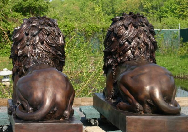 Bronze Pair of Majestic Lions