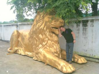 Bronze GIANT Laying Down Lion MASSIVE
