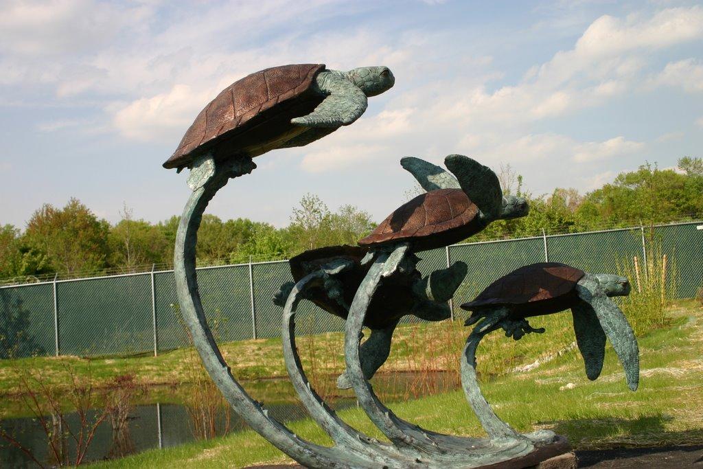 Bronze 4 Sea Turtles Swimming