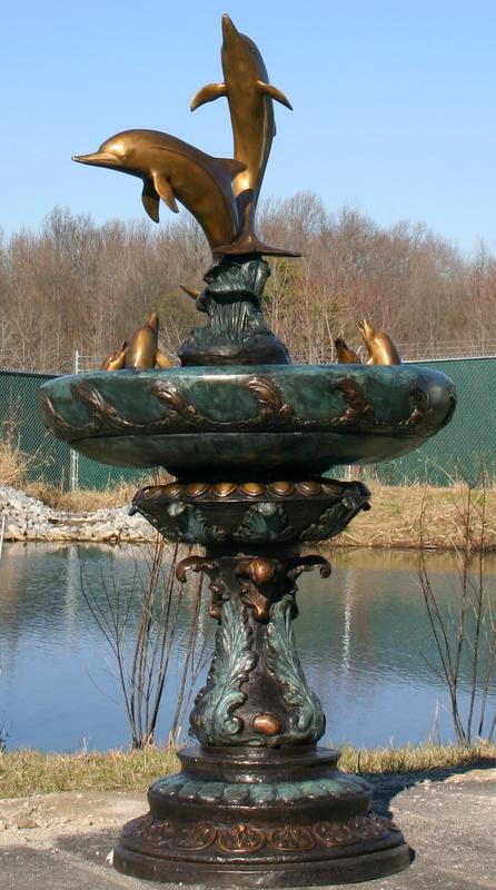 Bronze Dolphin Family Fountain TK-52575