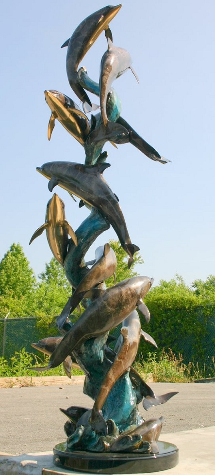 Bronze 12 Dolphin Sculpture Special Patina