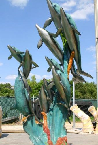 10 Bronze Swimming Dolphins Special Patina