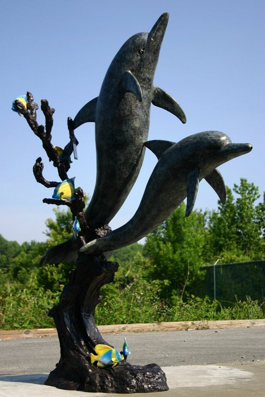 2 Swimming Bronze Dolphins New Style