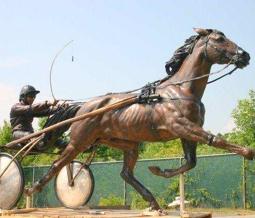 Sulky Harness Racing Jockey and Horse