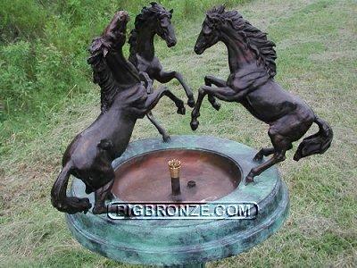 Three Horses Urn Fountain Bird Bath