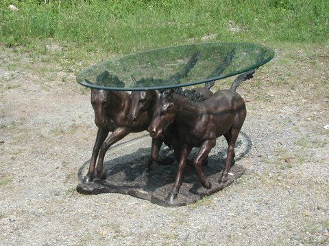 Bronze Three Horse Cocktail Table Base