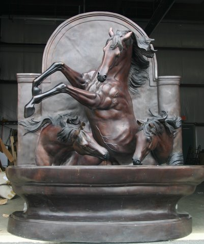 Medium Three (3) Horse Wall Fountain