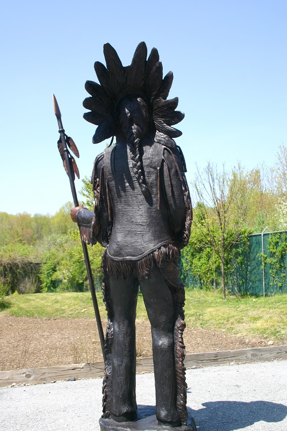 Bronze Indian Chief Holding Spear