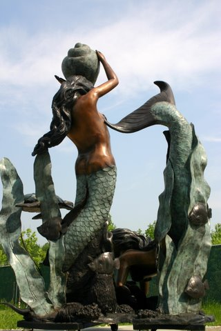 Two Mermaids Holding Shell Fountain
