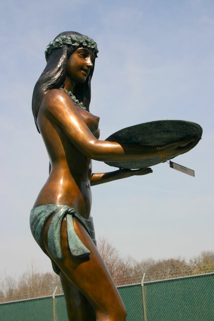 Hawaiian Hula Girl with Tray Welcoming