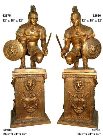 Pair Roman Soldier Trojan Spartan on Bronze Base