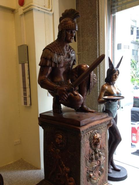 Pair Roman Soldier Trojan Spartan on Bronze Base