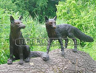 Pair of Bronze Foxes