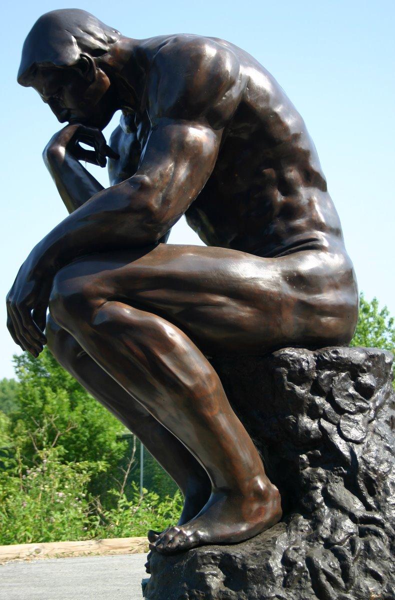 Giant Thinker Bronze Monument Sculpture Tk 84098