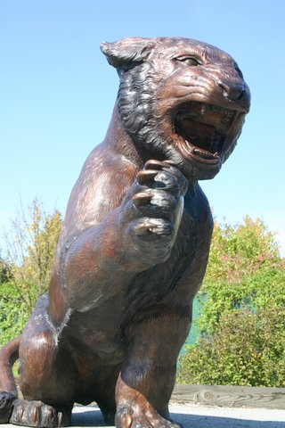 Bronze Lion Attacking