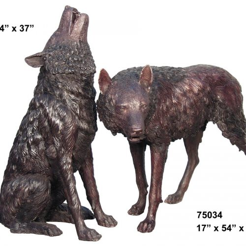 Pair of Bronze Wolves