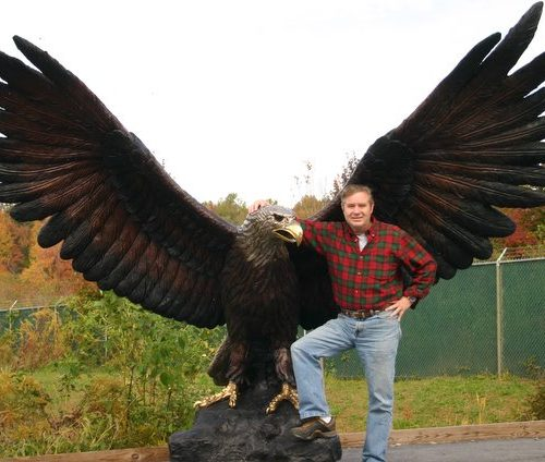 Giant Eagle Monumental Bronze Mascot Hawk Osprey Falcon