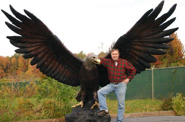 Giant Bronze Eagle Monumental Sculpture School Mascot